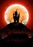 Halloween background with castle and moon Stock Photography