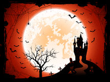 Halloween background with castle Stock Images