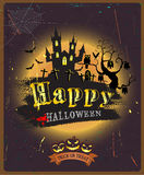 Halloween background with castle, owl, fullmoon and old style grunge texture, vector & illustration Stock Photography