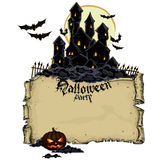Halloween background with castle Royalty Free Stock Images