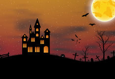 Halloween background with castle, pumkin, bats and big moon Stock Photos