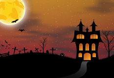 Halloween background with castle, pumkin, bats and big moon Royalty Free Stock Images