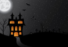 Halloween background with castle, pumkin, bats and big moon Royalty Free Stock Photography
