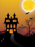 Halloween background with castle, pumkin, bats and big moon Royalty Free Stock Image