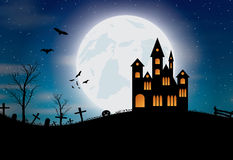 Halloween background with castle, pumkin, bats and big moon Stock Photo