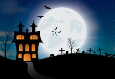 Halloween background with castle, pumkin, bats and big moon Royalty Free Stock Photos