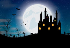 Halloween background with castle, pumkin, bats and big moon Stock Images