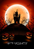 Halloween background with castle and pumpkins Royalty Free Stock Photo