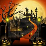Halloween background with castle and scary pumpkins. Illustration of Halloween background with castle and scary pumpkins Stock Photo