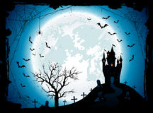 Halloween background with castle and spider Royalty Free Stock Images
