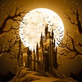 Halloween Background with Castle. Spooky halloween night, holiday background. EPS 10 contains transparency