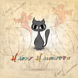 Halloween background with cat Royalty Free Stock Photos