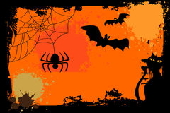 Halloween background. With the cat, bat and spider Royalty Free Stock Photo