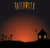 Halloween background with cemetery Stock Images