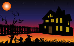 Halloween background with cemetery,house and fence silhouettes in the moon light.Vector illustration. Stock Photo