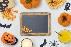 Halloween background with chalkboard Stock Images