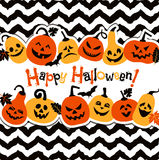 Halloween background of cheerful pumpkins.Autumn abstract background. Stock Image