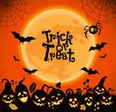 Halloween background of cheerful pumpkins Stock Images