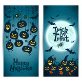 Halloween background of cheerful pumpkins with moon. Banners set Stock Images