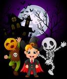 Halloween background with children in halloween costume. Illustration of Halloween background with children in halloween costume Royalty Free Stock Photos