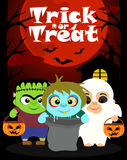 Halloween background with children trick or treating Royalty Free Stock Photo