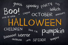 Halloween Background Concept Word Cloud Stock Photos