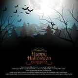 Halloween background with creepy forest with bats on full moon Stock Images