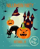 Halloween background with creepy house, moon, cat, scare pumpkin and bats.   Stock Images