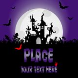 Halloween background with creepy House and night bats, design element, place for your text, Halloween party invitation. stock illustration