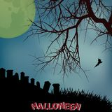 Halloween background with creepy tree graveyard and text. Halloween Background with Silhouette of Tree Over Graveyard with Dark Yellow Moon and Decorative Text Royalty Free Stock Photos