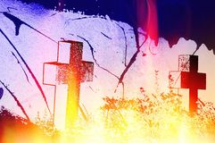 Halloween background with crosses without names and effects of fire and flames. Design element Stock Photography