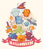 Halloween background with cute characters Royalty Free Stock Photography