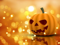 Halloween background with 3D pumpkin and bokeh lights Stock Photography