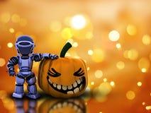 Halloween background with 3D pumpkin robot Stock Photo