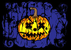Halloween background of dark pumpkin blue color Stock Images