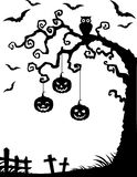 Halloween background with dead tree silhouette, owl and pumpkin Royalty Free Stock Photo