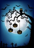 Halloween background with dead tree silhouette, owl and pumpkin Royalty Free Stock Photography