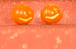 Halloween background concept. jack O pumpkin faces on bright col. Halloween background decor holiday concept. jack O pumpkin faces on bright colorful orange stock images