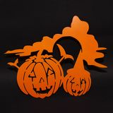 Halloween background decoration holiday concept. Two pumpkins angry faces shadow and silhouette on black background. Halloween background decoration holiday stock illustration