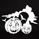 Halloween background decoration holiday concept. Two pumpkins angry faces shadow and silhouette on black background. Halloween background decoration holiday vector illustration