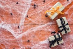 Halloween background with decorative creepy web, spiders and gif Royalty Free Stock Image