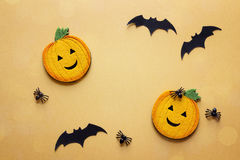 Halloween background with decorative pumpkins, spiders and bats Royalty Free Stock Photo