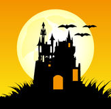 Halloween Background. Design with a castle and bats illustration Royalty Free Illustration