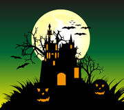 Halloween Background. Design with a castle and bats illustration Vector Illustration