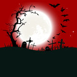 Halloween background - destroyed cemetery in full  Royalty Free Stock Photography