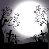 Halloween background - destroyed cemetery in full moon Stock Photo