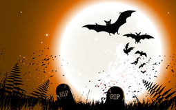 Halloween background - destroyed cemetery in full moon Stock Images