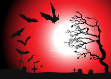 Halloween background - destroyed cemetery in full  Royalty Free Stock Photo