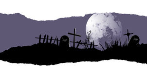 Halloween background with a destroyed cemetery Royalty Free Stock Photos