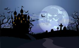 Halloween background with Dracula castle royalty free illustration